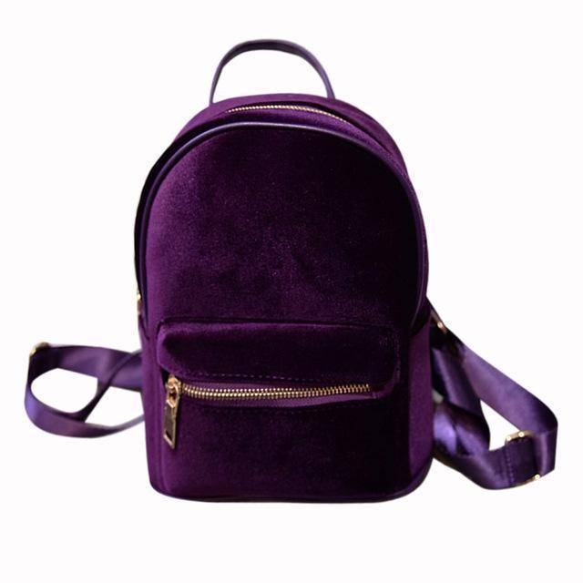 bags Purple Petite Velvet Designer Backpack Soft Backpack