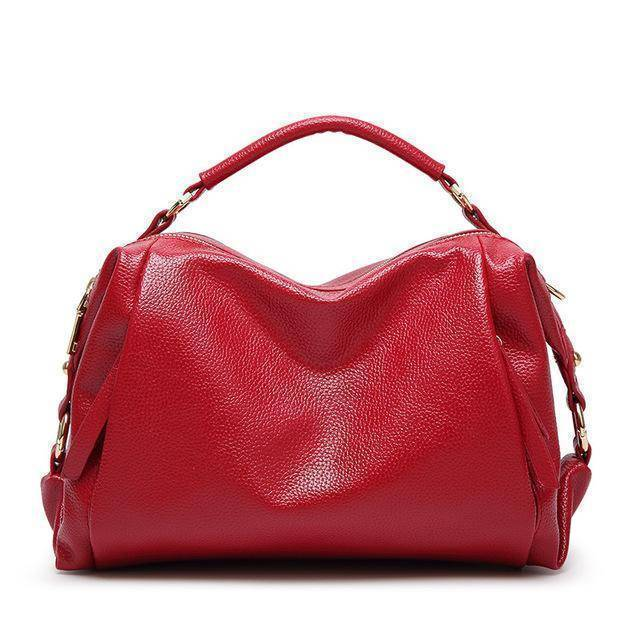 Bags Red Boston Women Handbag, Lichee Pattern Vegan Leather Bag