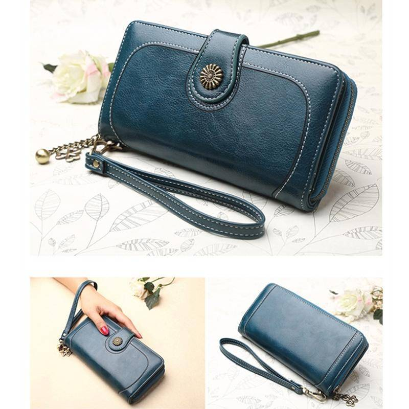 Bags Wallets for Women Clutch Purses iPhone, Vintage Oil Wax Leather Wallets Long Purse Phone Pouch Zipper