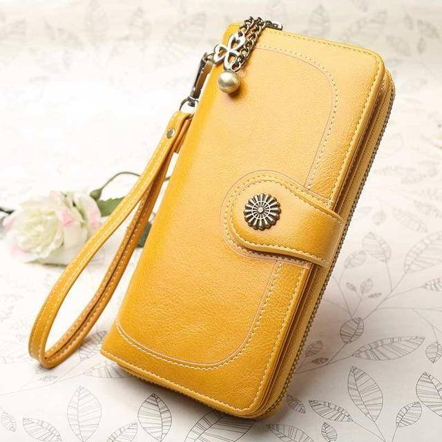 Bags yellow Wallets for Women Clutch Purses iPhone, Vintage Oil Wax Leather Wallets Long Purse Phone Pouch Zipper