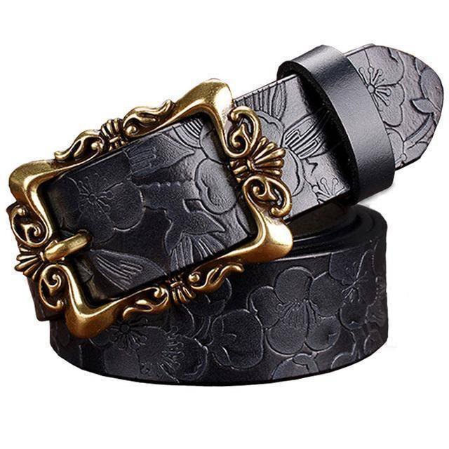 Belts Dark Blue Big Flower / 85cm Fashion Wide Genuine leather belt woman vintage Floral Second Layer Cow skin belts for women Top quality strap female for jeans