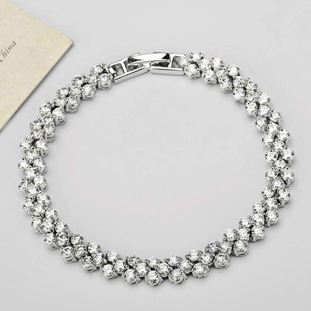 bracelet 5 sizes (16cm-19cm), Roman Chain Bracelet, 2.75mm Cubic Zircon Inlay