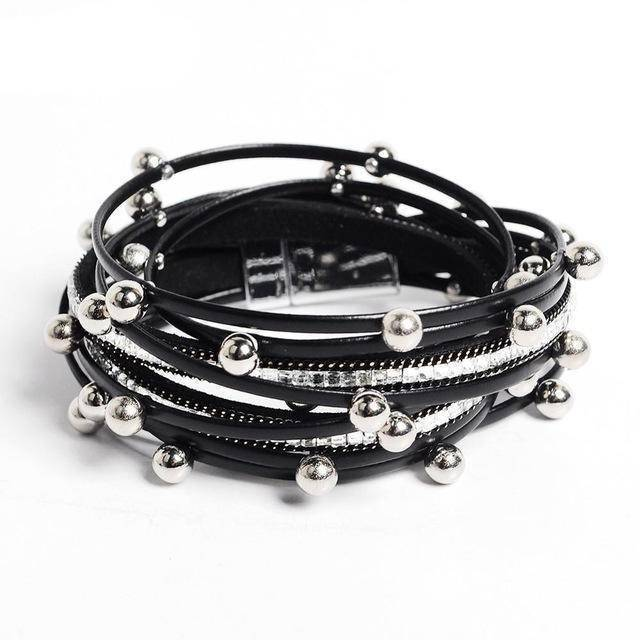 Bracelet black Silver beads Wrap leather bangle bracelet
