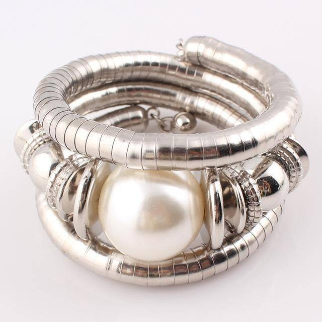 bracelet C Natural Stone Beads Charms Snake Bracelet  Pearl Adjustable Bangle