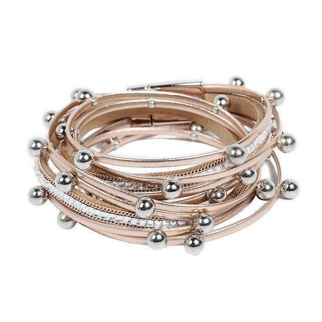 Bracelet champagne Silver beads Wrap leather bangle bracelet
