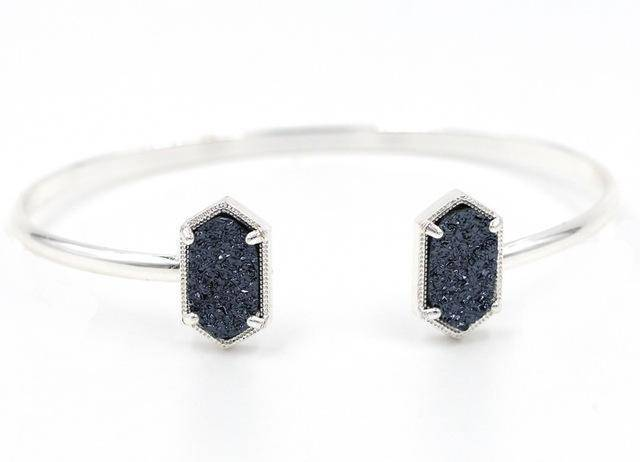 Bracelet Dark gray silver New Cute Oval Quartz Copper Bangles White and Blue green Stone Resin Druzy Cuff Bangles for Women