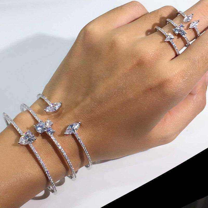 bracelet Exquisite micro pave setting Cuff Bracelets Bangle Women and cuff Ring Jewelry