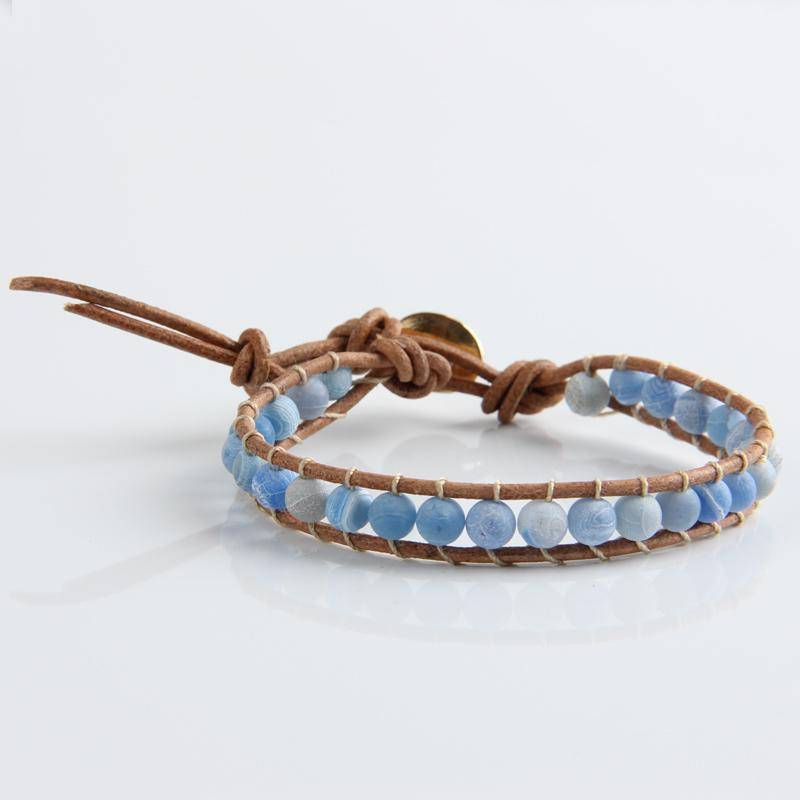 bracelet Leather Bracelet Natural Stone Bead Bracelets