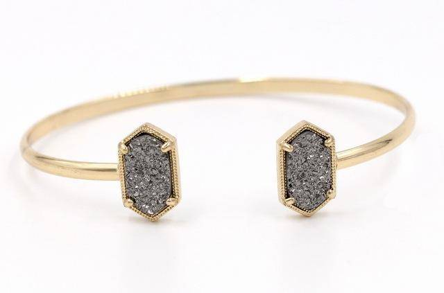 Bracelet Light Gray in Gold New Cute Oval Quartz Copper Bangles White and Blue green Stone Resin Druzy Cuff Bangles for Women