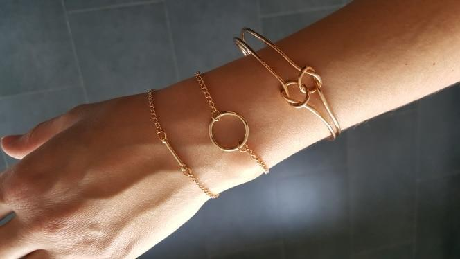 Bracelet Minimalist vintage gold color top Newest Fashion accessories tie bracelet for women girl