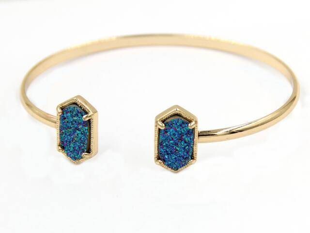 Bracelet Multi GOLD New Cute Oval Quartz Copper Bangles White and Blue green Stone Resin Druzy Cuff Bangles for Women