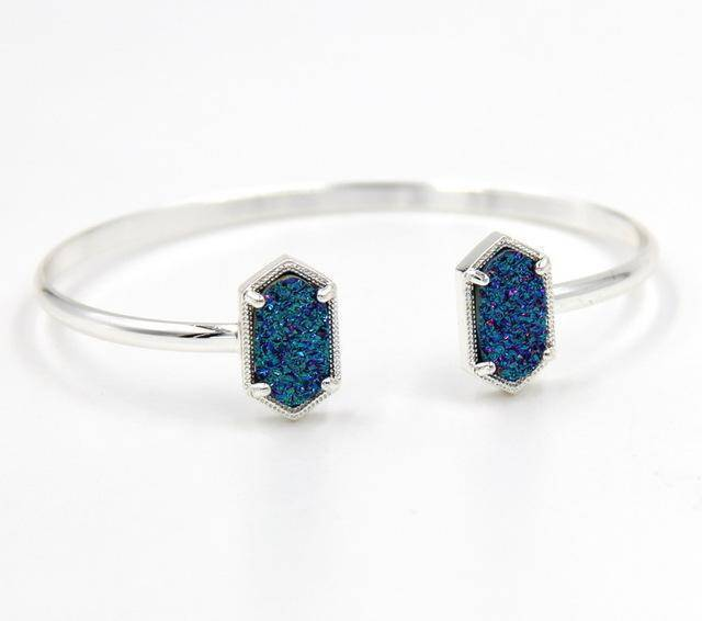 Bracelet Multi SILVER New Cute Oval Quartz Copper Bangles White and Blue green Stone Resin Druzy Cuff Bangles for Women
