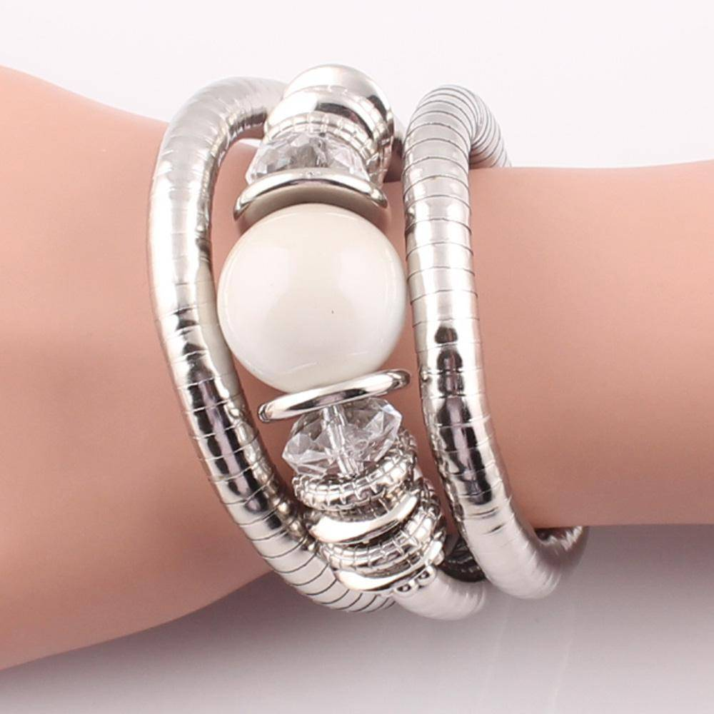 bracelet Natural Stone Beads Charms Snake Bracelet  Pearl Adjustable Bangle