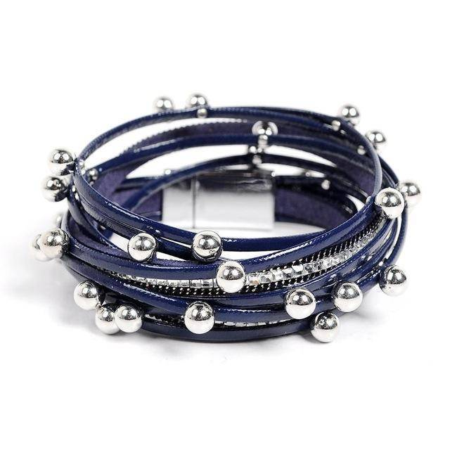 Bracelet navy Silver beads Wrap leather bangle bracelet