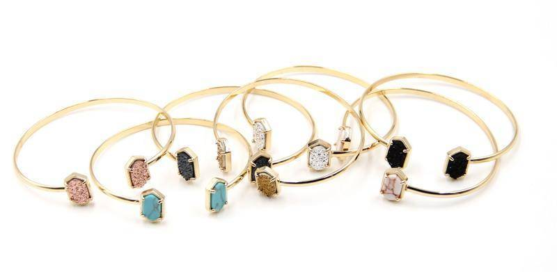 Bracelet New Cute Oval Quartz Copper Bangles White and Blue green Stone Resin Druzy Cuff Bangles for Women