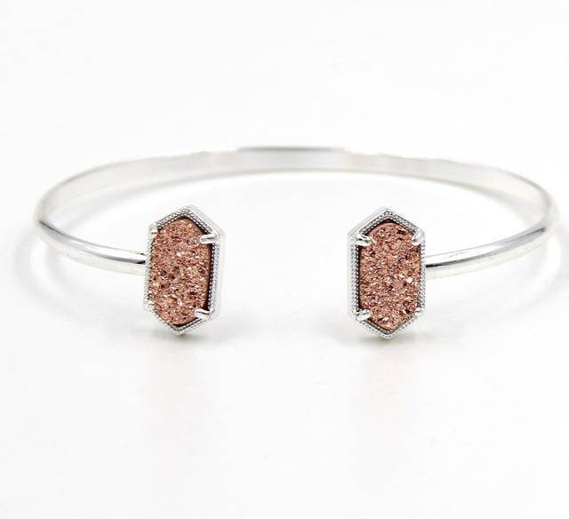 Bracelet Pink in SILVER New Cute Oval Quartz Copper Bangles White and Blue green Stone Resin Druzy Cuff Bangles for Women