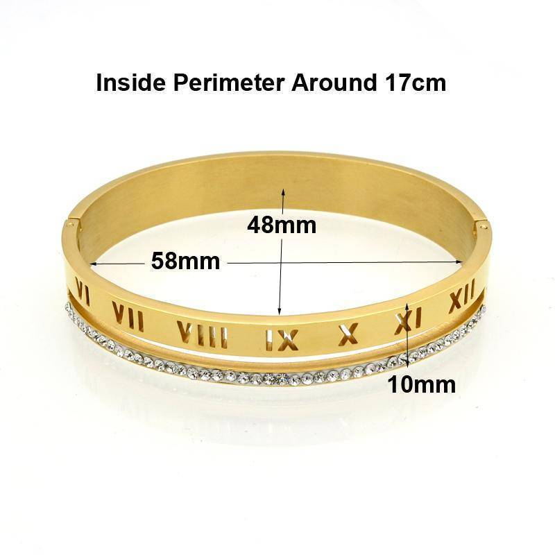 bracelet Roman numerals, Crystal Bracelets & Bangles cuff - Stainless steel