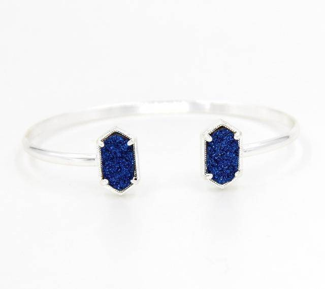 Bracelet Royal Blue in SILVER New Cute Oval Quartz Copper Bangles White and Blue green Stone Resin Druzy Cuff Bangles for Women