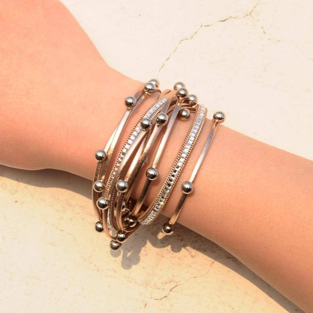 Bracelet Silver beads Wrap leather bangle bracelet