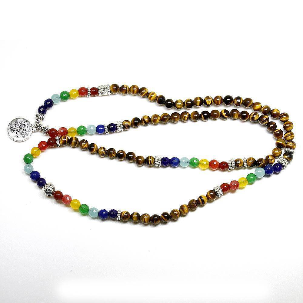 Bracelet Tree of Life, Chakra beads and Tiger Eye natural stone Unisex Mala, 108 Buddha Healing Stone Beaded Bracelet