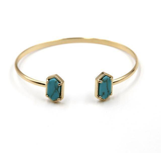 Bracelet Turquoise New Cute Oval Quartz Copper Bangles White and Blue green Stone Resin Druzy Cuff Bangles for Women