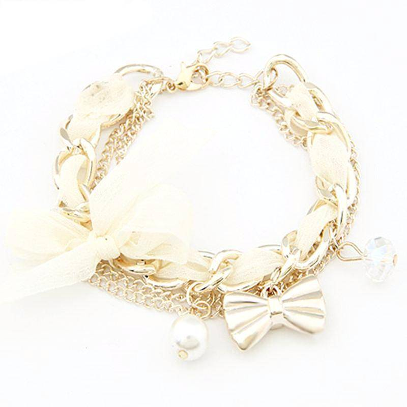 Bracelet white Simulated Pearl Charm Gold Color Bracelets Bangles