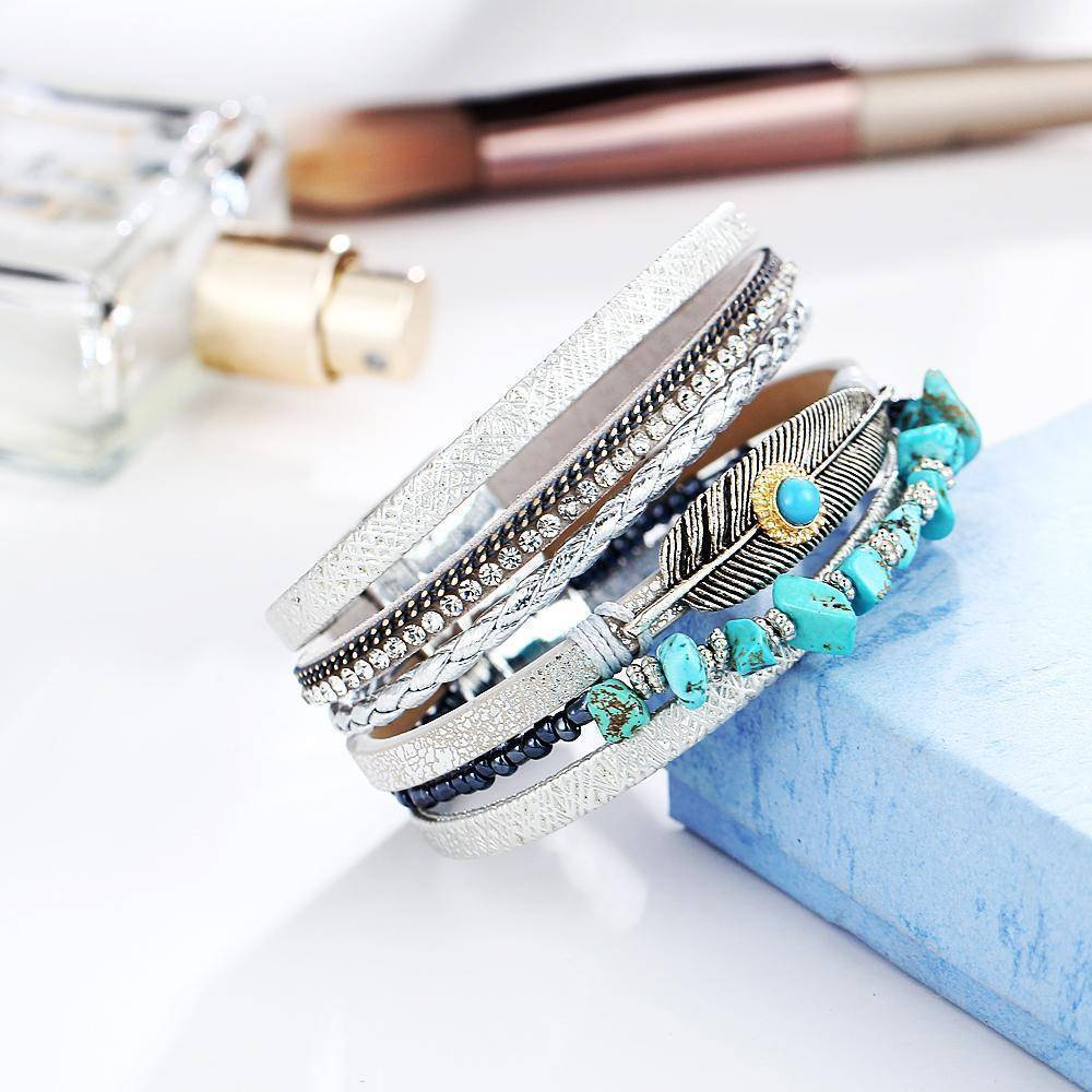 Bracelets Multiple Layers Charms Leather Bracelets&Bangles for Women Vintage Crystal Stone Leaf Feather Female Jewelry
