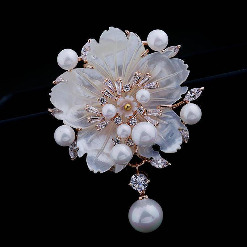 Brooches Cubic Zirconia Flower With Imitation Shell Pearl