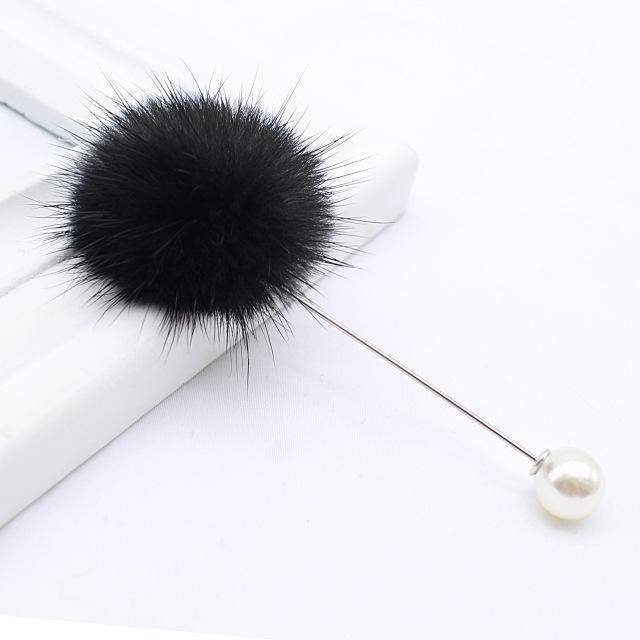 brooches & pins black new cute Charm Simulated Pearl Brooch Pins For Women Korean Fur pompom Ball Piercing Lapel Brooches Collar Jewelry Gift
