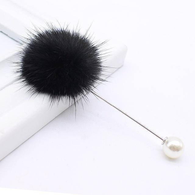 brooches & pins black7 new cute Charm Simulated Pearl Brooch Pins For Women Korean Fur pompom Ball Piercing Lapel Brooches Collar Jewelry Gift