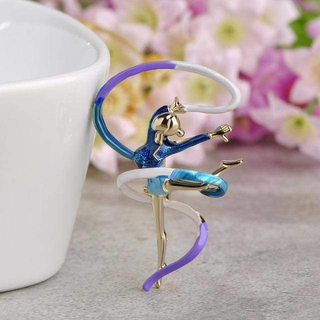 brooches & pins Blue Enamel Sports Gymnastics Brooch Whirling Girls Ribbon Brooches Women Dancer Badge Garment Decoration Pin Bijoux