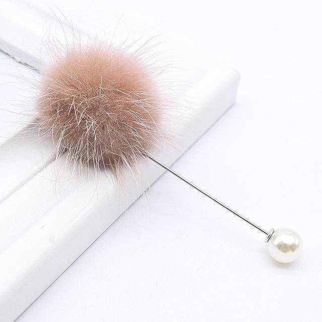 brooches & pins brown new cute Charm Simulated Pearl Brooch Pins For Women Korean Fur pompom Ball Piercing Lapel Brooches Collar Jewelry Gift
