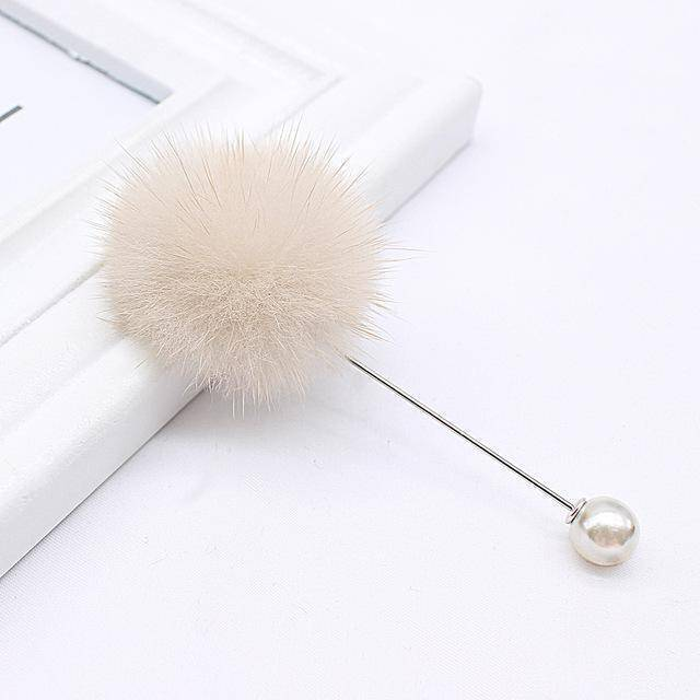 brooches & pins dark white new cute Charm Simulated Pearl Brooch Pins For Women Korean Fur pompom Ball Piercing Lapel Brooches Collar Jewelry Gift