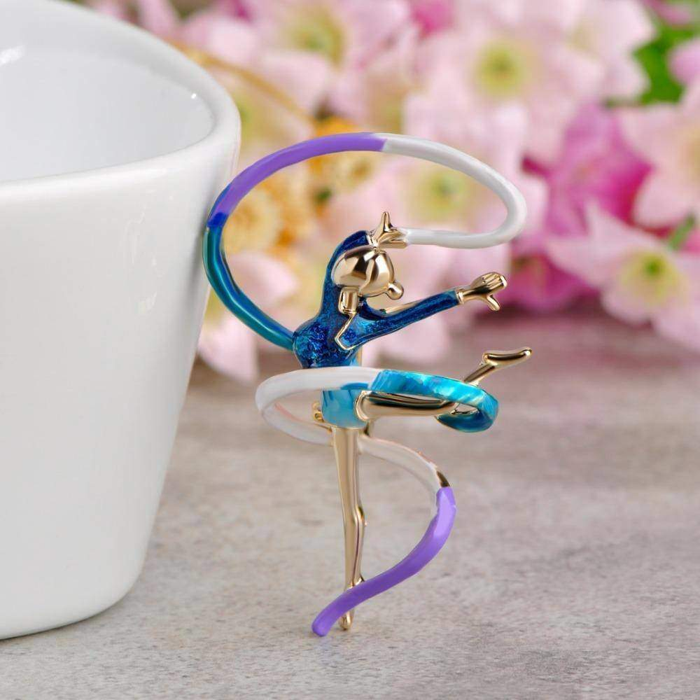 brooches & pins Enamel Sports Gymnastics Brooch Whirling Girls Ribbon Brooches Women Dancer Badge Garment Decoration Pin Bijoux