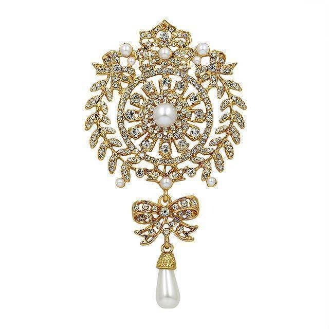 Brooches & pins gold Large Size Crystal Diamante and Imitation Pearl Drop Scroll Brooches