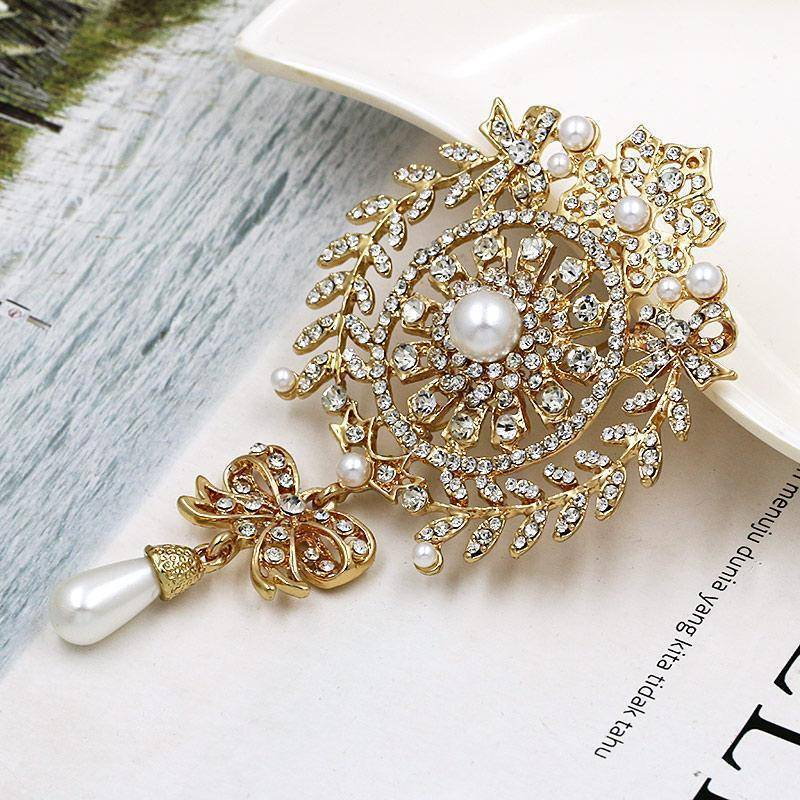 Brooches & pins Large Size Crystal Diamante and Imitation Pearl Drop Scroll Brooches