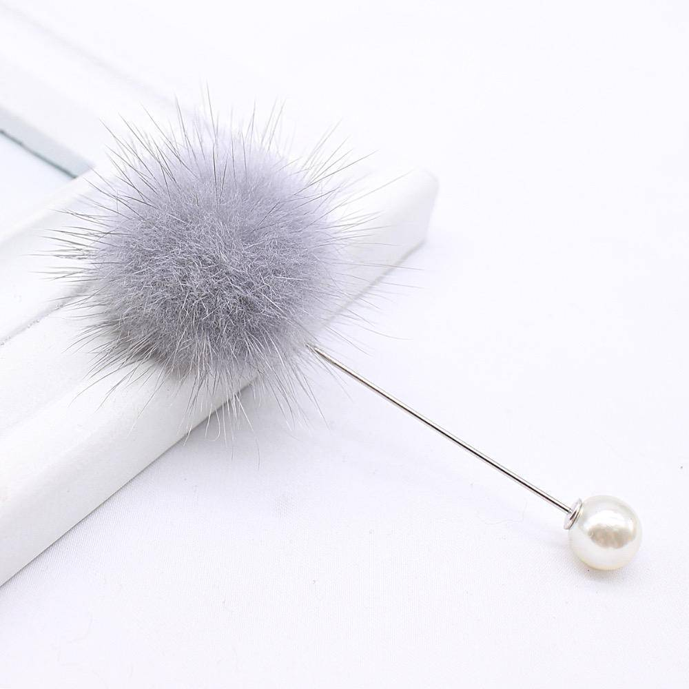 brooches & pins new cute Charm Simulated Pearl Brooch Pins For Women Korean Fur pompom Ball Piercing Lapel Brooches Collar Jewelry Gift
