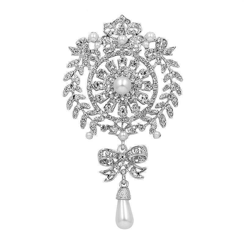 Brooches & pins silver Large Size Crystal Diamante and Imitation Pearl Drop Scroll Brooches