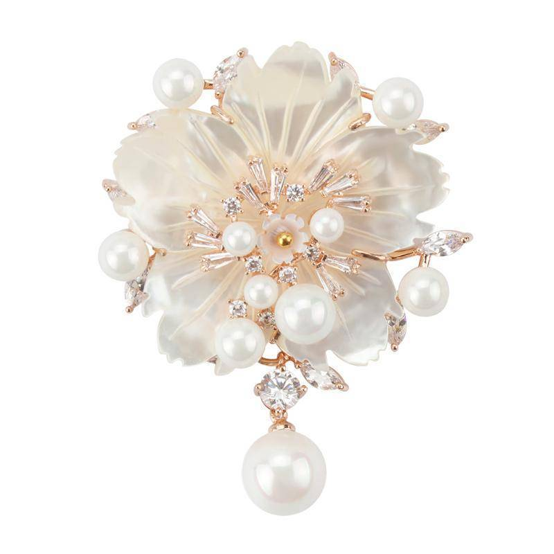Brooches rose gold Cubic Zirconia Flower With Imitation Shell Pearl