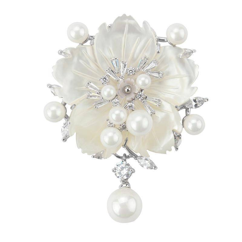 Brooches Silver Cubic Zirconia Flower With Imitation Shell Pearl