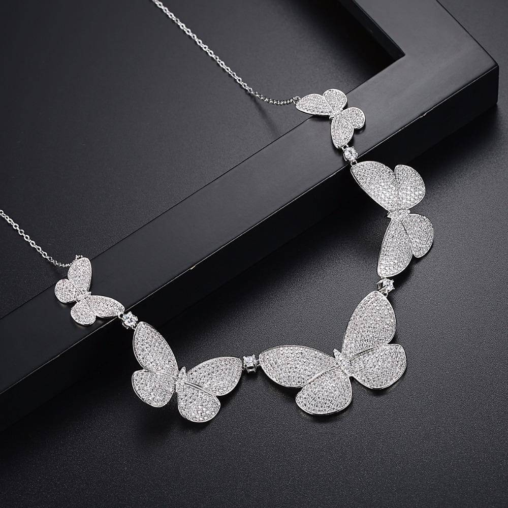 Chain Necklaces CZ Micro Paved Statement Vintage Butterfly Choker Necklace Silver