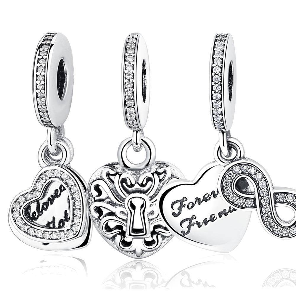 charms & beads 23 Styles, 925 Sterling Silver. Love Heart Charms