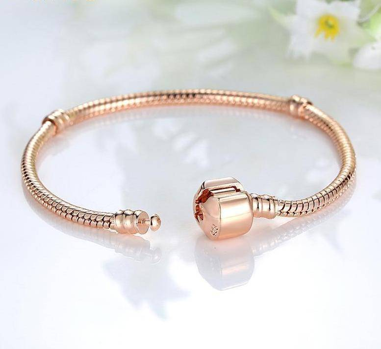 charms & beads 8 Sizes, Rose Gold Color & Silver Snake Chain Bracelets DIY Bracelet 16CM-23CM