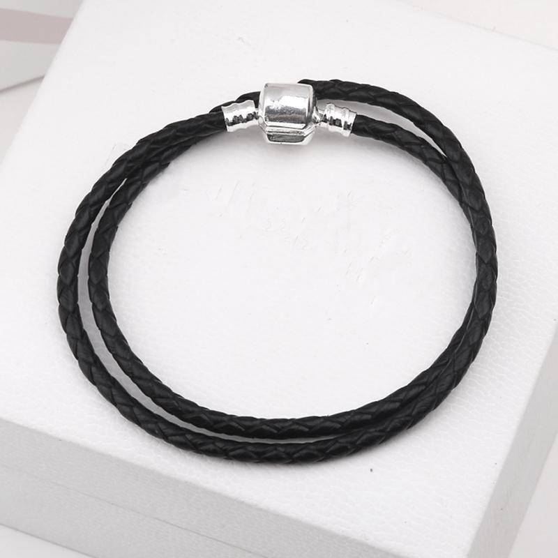 charms & beads Black14 / 18cm 27 styles, 3MM Genuine Leather Bracelet Chain Fit PAN Charms