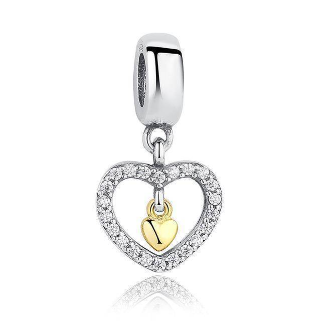 charms & beads GOS169 23 Styles, 925 Sterling Silver. Love Heart Charms