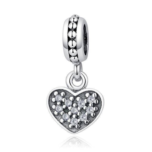 charms & beads GYC006 23 Styles, 925 Sterling Silver. Love Heart Charms