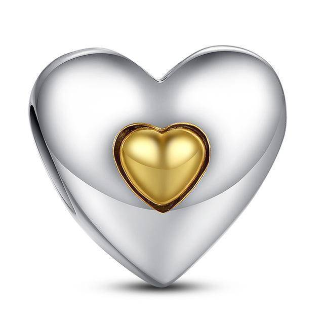 charms & beads S003 27 Styles of Hearts - 100% Authentic 925 Sterling Silver Charm Beads,  Fits Pan Charm Bracelets