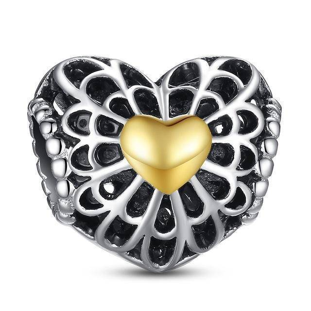 charms & beads S004 27 Styles of Hearts - 100% Authentic 925 Sterling Silver Charm Beads,  Fits Pan Charm Bracelets
