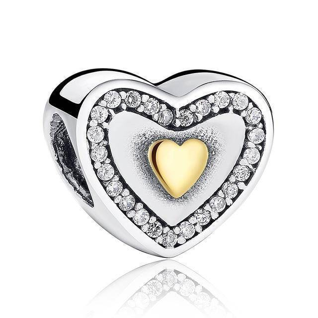 charms & beads S034 27 Styles of Hearts - 100% Authentic 925 Sterling Silver Charm Beads,  Fits Pan Charm Bracelets