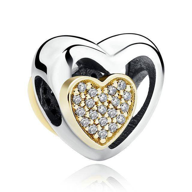 charms & beads S265 27 Styles of Hearts - 100% Authentic 925 Sterling Silver Charm Beads,  Fits Pan Charm Bracelets